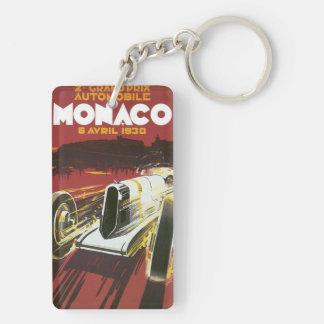 Vintage Travel Poster, Monaco Grand Prix Auto Race Double-Sided Rectangular Acrylic Key Ring
