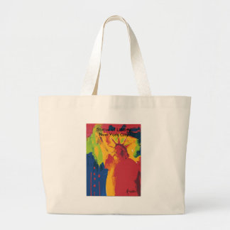 Vintage travel poster Statue of Liierty NYC Large Tote Bag