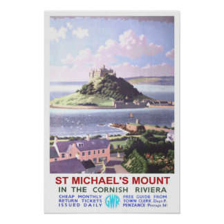 Vintage travel,St Michael's Mount. Poster