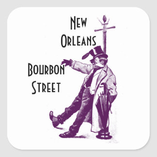 Vintage Travel Stickers Bourbon Street New Orleans