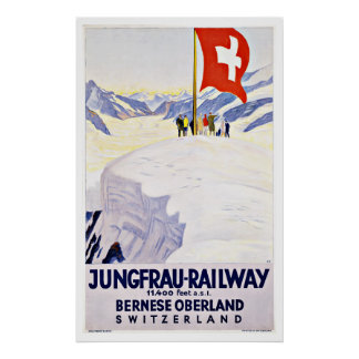 Vintage Travel Switzerland By Jungfrau Railway Poster