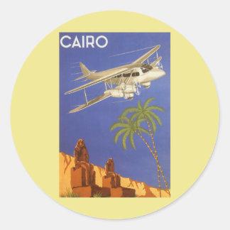 Vintage Travel to Cairo, Eygpt, Biplane Airplane Classic Round Sticker