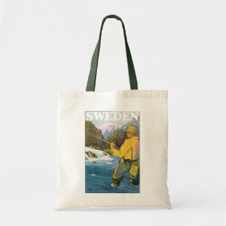 Vintage Travel to Sweden, Fisherman Sports Fishing Tote Bag