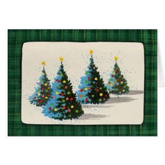 vintage trees Christmas_Card Card