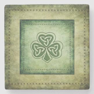 Vintage trendy grundge Irish shamrock Stone Beverage Coaster
