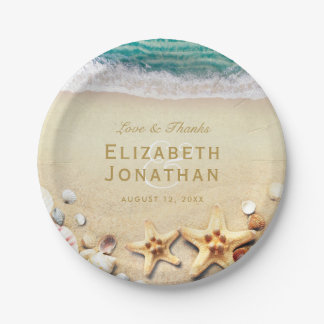 Vintage Tropical Beach Starfish Wedding Collection 7 Inch Paper Plate