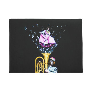 Vintage Tuba Player and Singer Music Notes Funky Doormat