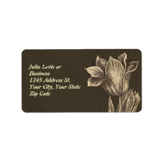 vintage tulip flowers address label