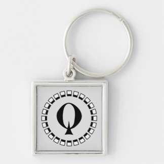 Vintage turn of the century, monogram Q Silver-Colored Square Key Ring