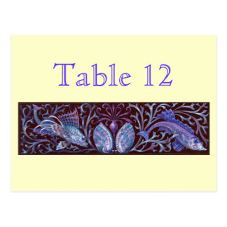 Vintage Twin Fishes Reception Table Numbers Postcard