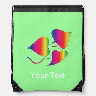 Vintage Tye-Dye Vine Plant Personalized Green Drawstring Bag