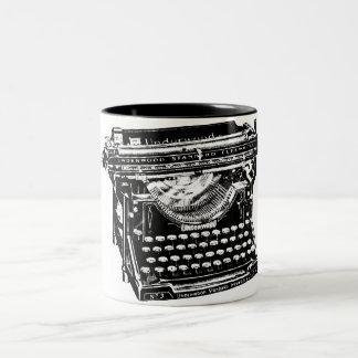 Vintage Typewriter Illustration Two-Tone Mug
