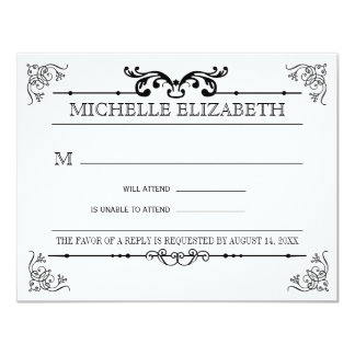 Vintage Typography Bar-Bat Mitzvah Reply 11 Cm X 14 Cm Invitation Card
