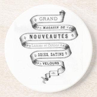 vintage typography fabric design coasters