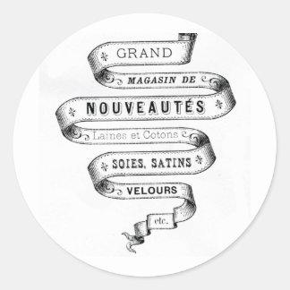 vintage typography fabric design round stickers