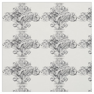 vintage typography scroll design fabric