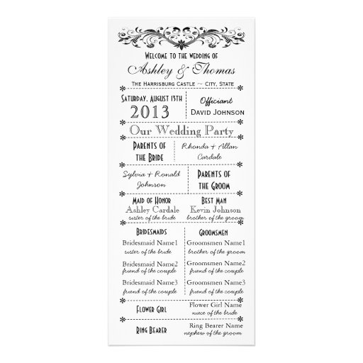 Vintage Typography Style Wedding Programs Rack Card Template