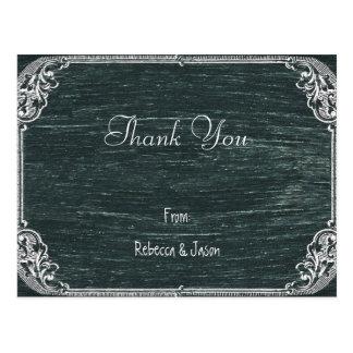 Vintage Typography wedding chalkboard thank you Postcard