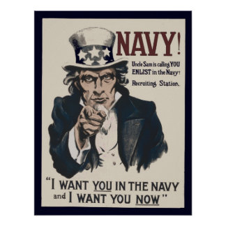 Vintage Uncle Sam Navy WW1 Recruiting Poster