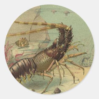 Vintage Underwater Ocean Scene with Sea Life Round Sticker