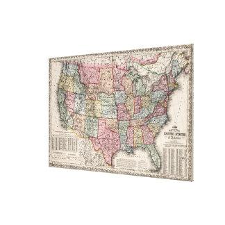 Vintage United States Map (1860) Canvas Print