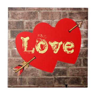Vintage Urban Art Love Valentine Hearts Brick Wall Tiles