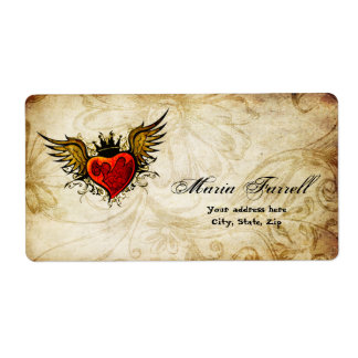 Vintage Urban Tattoo Winged Heart Shipping Label
