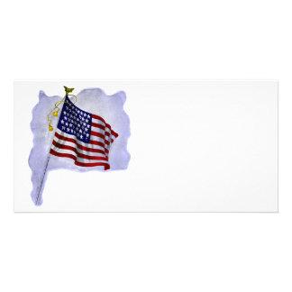 Vintage US Flag in Patriotic Colors Photo Cards