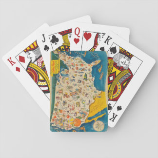 Vintage USA Food Map Playing Cards