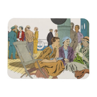 Vintage Vacation, Passengers Cruise Ship on Deck Magnet