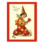 Vintage Valentine Clown Postcard