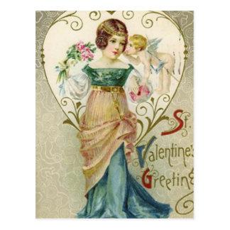 Vintage Valentine Greeting With Lady and Cherib Postcard