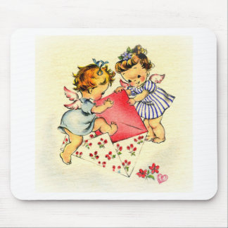 Vintage Valentine ~ Two Cupids Sending Their Love Mouse Pad