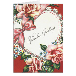 Vintage Valentine With Pink Roses Bow and Heart Card