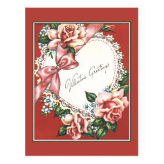 Vintage Valentine With Pink Roses Bow and Heart Postcard