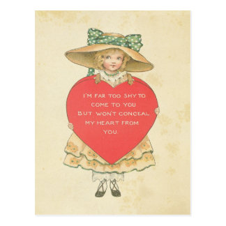 Vintage Valentine's Day Red Heart Secret Admirer Postcard