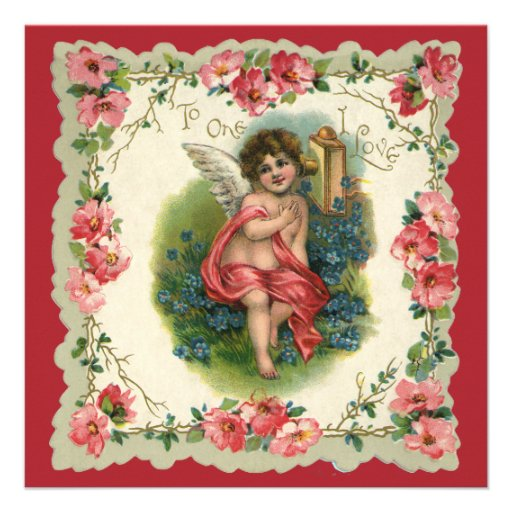 Vintage Valentine's Day, Victorian Angel on Phone Personalized Invitations