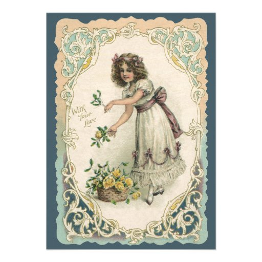Vintage Valentine's Day, Victorian Girl with Roses Personalized Announcements
