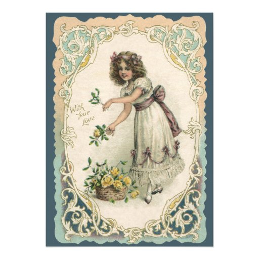 Vintage Valentine's Day, Victorian Girl with Roses Invitation
