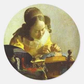 Vintage Vermeer The Lacemaker Round Sticker. Classic Round Sticker