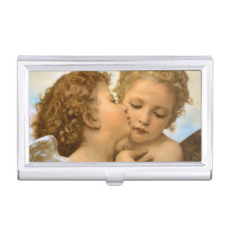 Vintage Victorian Angels, First Kiss by Bouguereau Business Card Holder