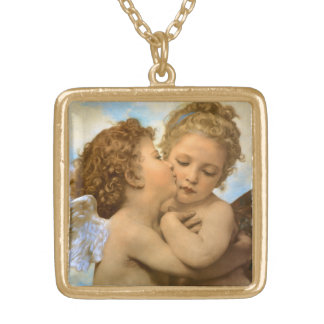 Vintage Victorian Angels, First Kiss by Bouguereau Gold Plated Necklace