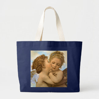 Vintage Victorian Angels, First Kiss by Bouguereau Large Tote Bag