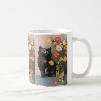 Vintage Victorian Animals, Cute Cat Kitten Flowers Basic White Mug