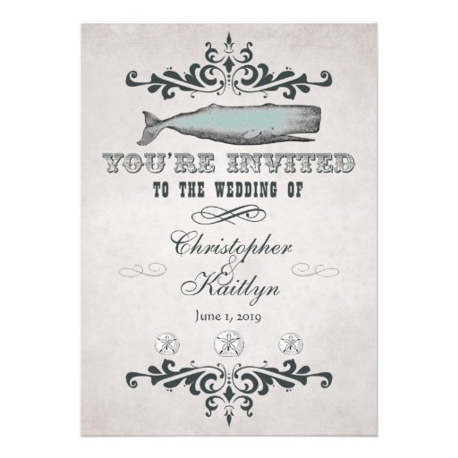 Vintage Victorian Beach Whale Wedding Invitations