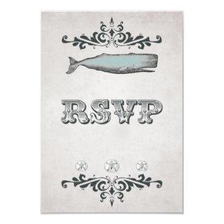 Vintage Victorian Beach Whale Wedding RSVP Card 9 Cm X 13 Cm Invitation Card