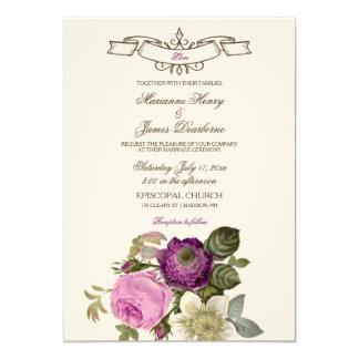 Vintage Victorian Botanical Pink & Plum 13 Cm X 18 Cm Invitation Card
