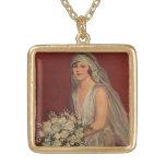 Vintage Victorian Bride Posing for Bridal Portrait Square Pendant Necklace