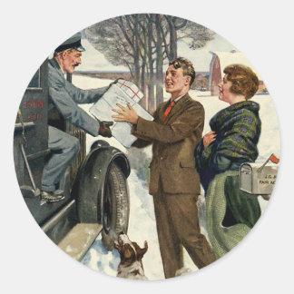 Vintage Victorian Christmas Mailman Delivery Round Sticker