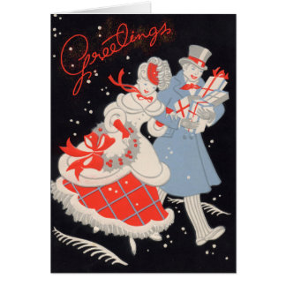 Vintage Victorian Couple Christmas Shopping Card